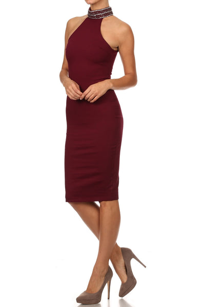 Burgundy Embellished Halter Neck Pencil Dress