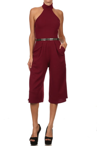 Burgundy Halter Neck Sleeveless Cropped Culotte Jumpsuit
