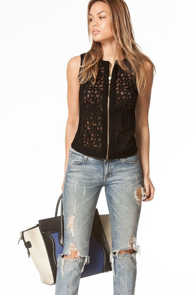 Black Textured Lace Cutout Zip Up Vest