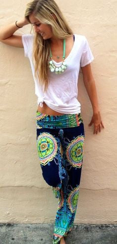 Navy Printed High Waisted Palazzo Pants Made in USA