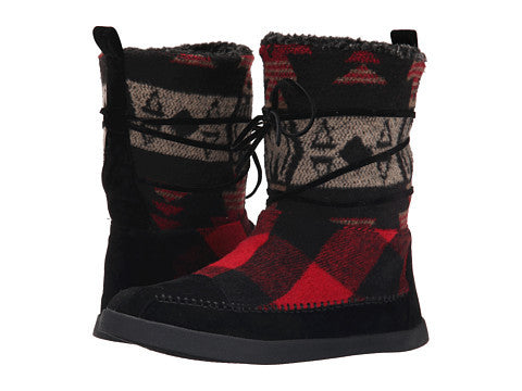 Madden Girl Black & Red Jackmen Fleece Boot
