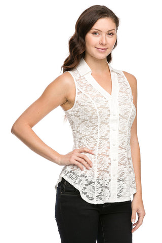 Lace Sheer Sleeveless Button Down