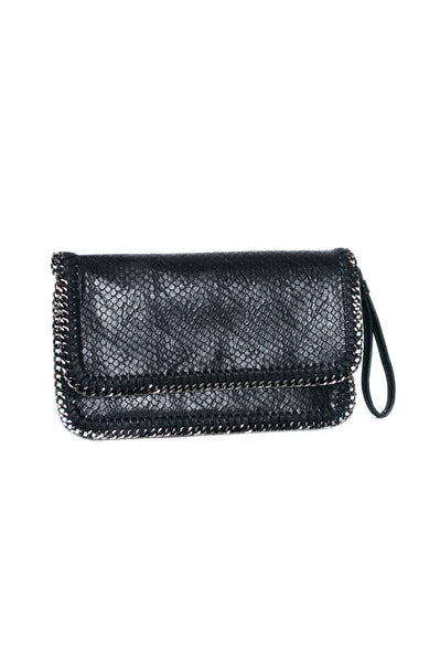 INZI Vegan Leather Chain Border Clutch With Wrist Strap
