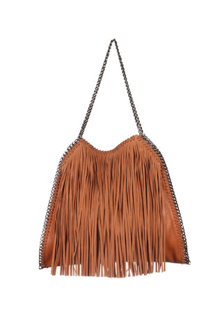 INZI Camel Tan Long Fringed Chain Trimmed Edged Tote Handbag