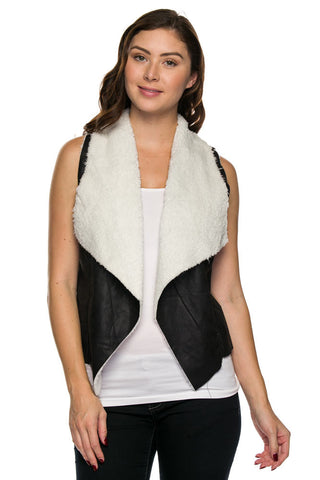 Black Faux Leather Ivory Fleece Draped Collar Vest