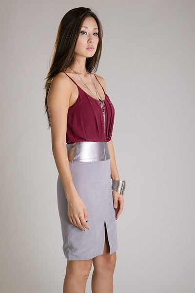Burgundy and Grey Silver Banded Dress