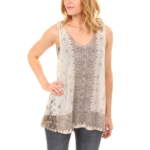 Taupe Knit & Lace Rhinestone Embellished Top