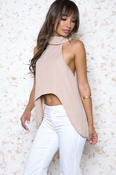 Taupe Choker High Low Crop Top