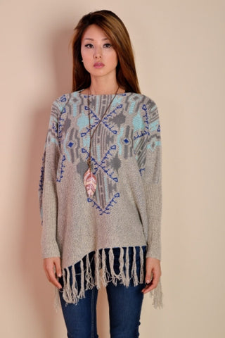 Sky Blue and Grey Fringe Aztec Fringe Knit Poncho with Sleeves