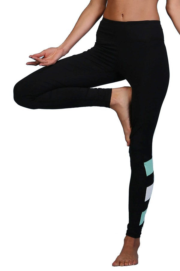 Black Contrast Bar Active Leggings