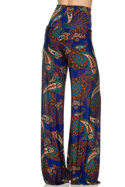 Navy Paisley Print High Waisted Palazzo Pants