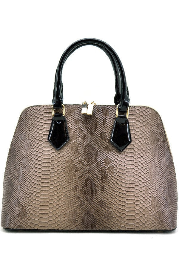 Brown Faux Snake Skin Handbag