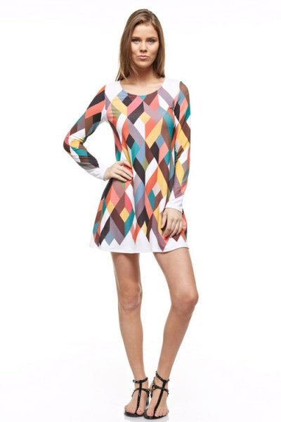 Multi Color Geometric Print Long Sleeves Dress