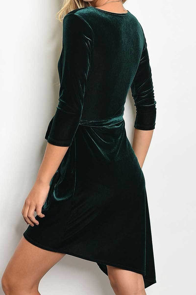 Hunter Green Velvet Wrap Dress