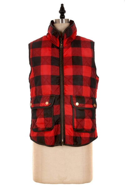 Black & Red Plaid Checked Vest