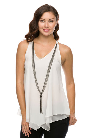 White Chiffon Sleeveless Top w/ Necklace Detail