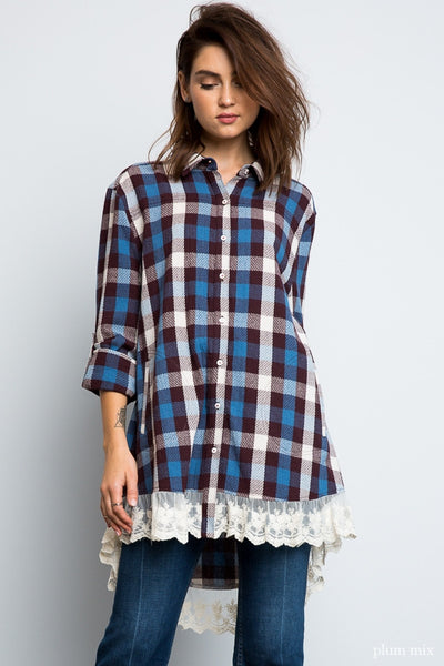 Hayden Blue and Brown Mix Plaid Lace Button Up Tunic Dress
