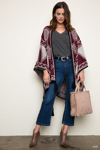 Burgundy Tribal Tassel Poncho