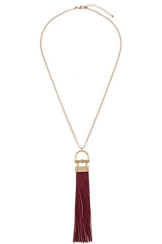 Simple Elongated Drop Accent Suede Tassel Necklace