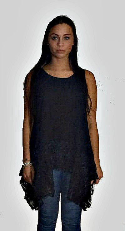 Black Sleeveless Long Lace Trim Tunic Top