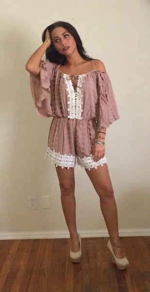 Mauve Tan Belle Sleeve Off the Shoulder Crochet Detail Romper