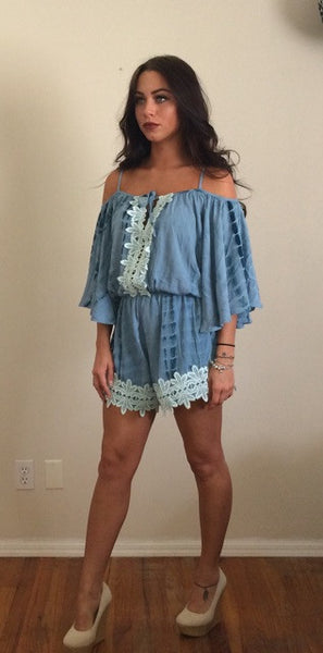 Teal Belle Sleeve Off the Shoulder Crochet Detail Romper