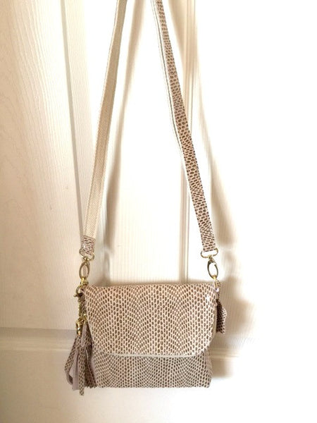 Veneto Beige GenuineItalian Leather Crossbody