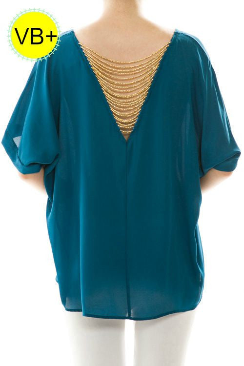VB+ Royal Blue Chiffon Top with Gold Beaded detail