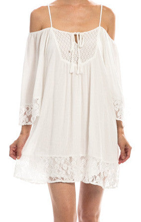 White Lace Yoke Detail Dress