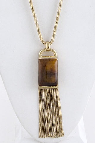 Square natural Stone with fringe Drop Long Wheat Chain Necklace