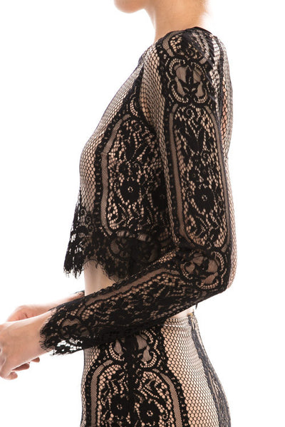 Black/Nude Lace Two Piece Crop-Top Dress