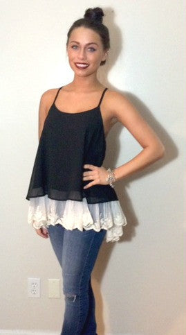 Black Sleeveless Tank with White Lace Detail
