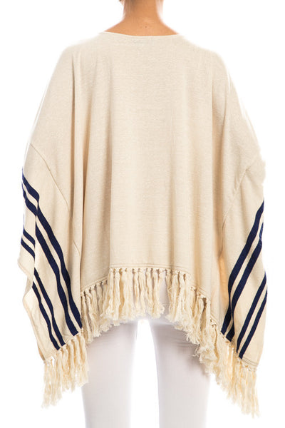 Ivory Poncho With Navy Stripe