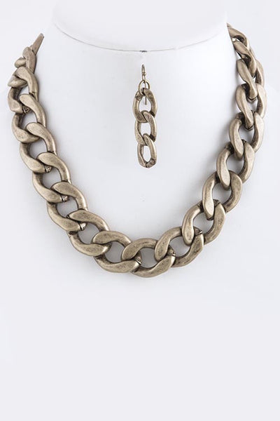 Antique Finish Curb Linked Necklace Set