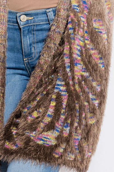 Mocha Fuzzy Sweater Open Front Cardigan