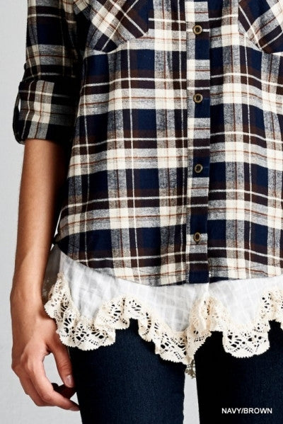 Brown and Navy Flannel Plaid Checked Top with Lace Trim