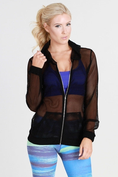 Mesh Zipper Hooded Jacket