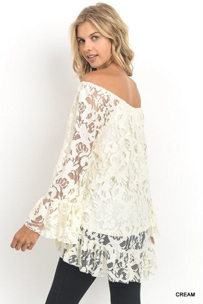 Black Lace Off the Shoulder Long Sleeve Top