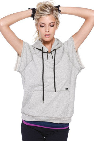 Heather Grey Raw Edge Pullover Hoodie