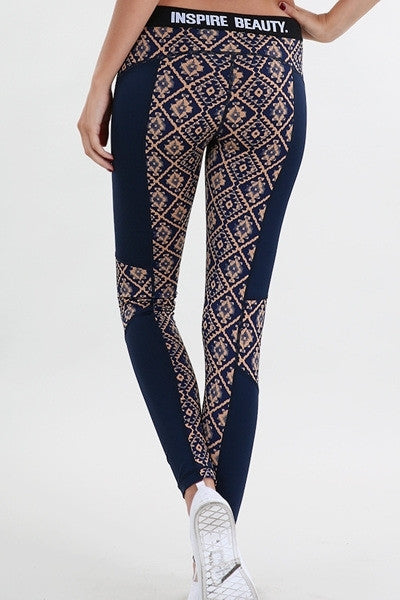 Navy & Taupe Tribal ColorBlock Active Leggings