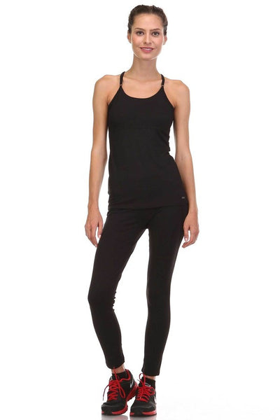 Black Spaghetti Strap Cross  Active Wear Sport Tank Top