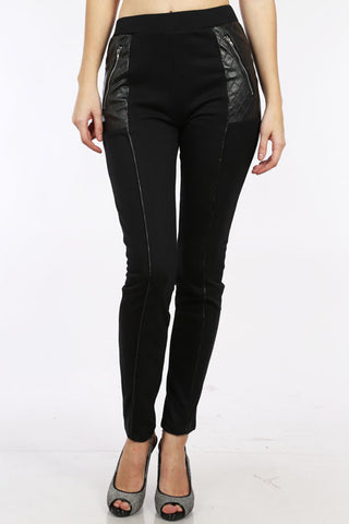 LoveRiche Black Faux Leather Quilted Pocket Leggings Pants