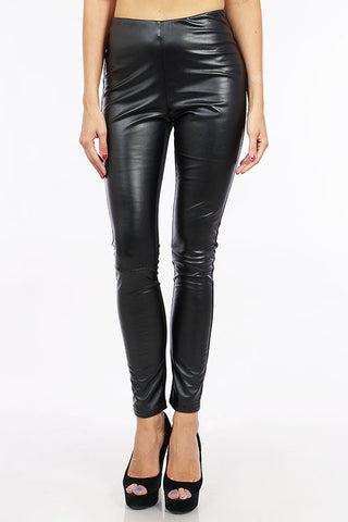 LoveRiche Black Faux Leather Front Leggings