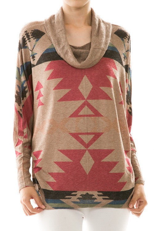 Pink Tribal Print Cowl Neck Knit Top
