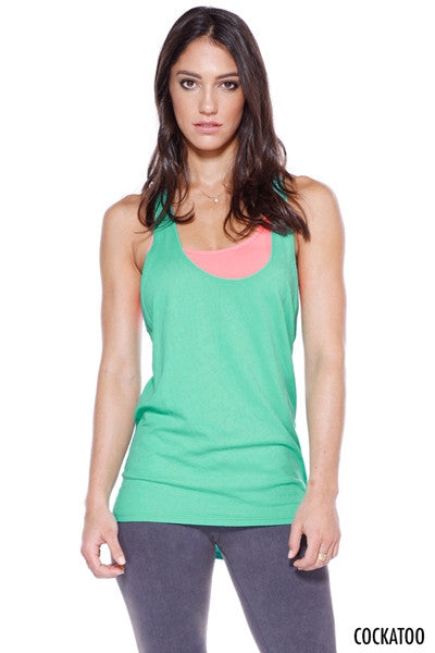 Green Relaxed Racer Back Top