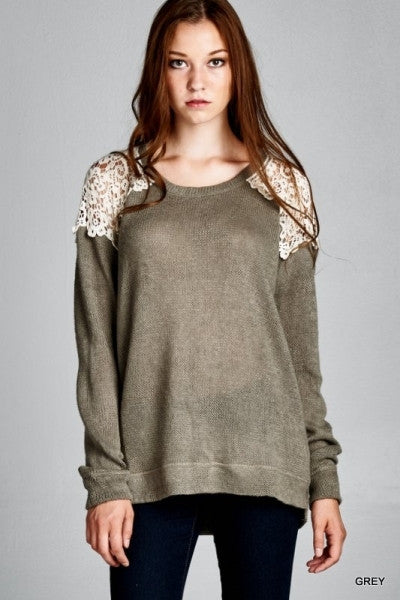 Grey Sweater Top with Crochet Lace Shoulder & Back Detail