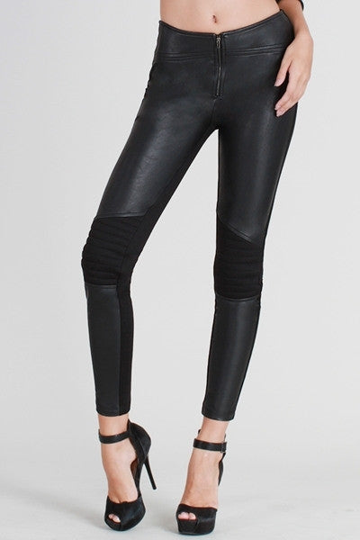 Black Motorcycle Faux Leather Panel Pants