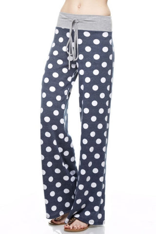 Navy Polka Dot Palazzo Lounge Drawstring Pants
