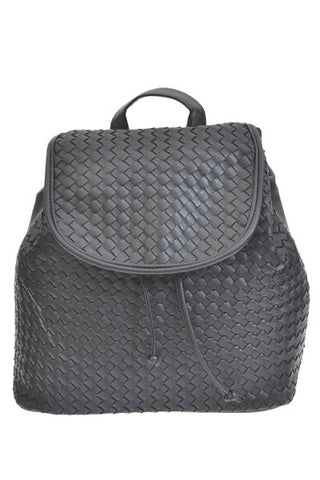 Black Faux Leather Woven BackPack