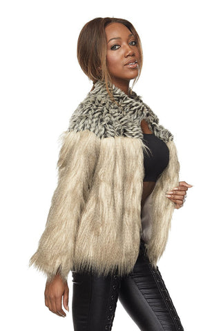 Play With Fire Khaki Faux Fur Jacket